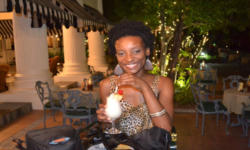 Enjoying a drink at the Half Moon Resort before Dancell Hall Night, Reggae Sumfest 2011