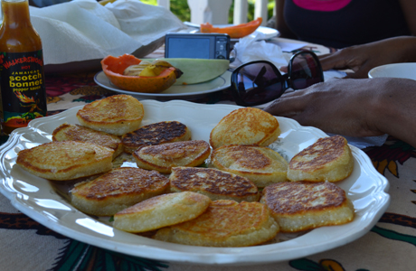 Cassava pancakes at the Bromley Retreat Center, St.Ann, Jamaica