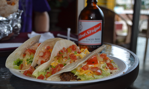 Beef, Grilled and Jerk Chicken Tacos with a red stripe to wash it down at Chilitos Jamexican in Kingston