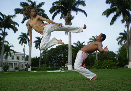 Prof. Simpson Practicing Capoeira on the lawn at Devon House