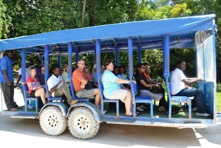 YS Falls Jamaica tractor pulled jitney
