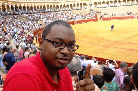 First internatinoal trip: Rogers at bull fight in Seville Spain