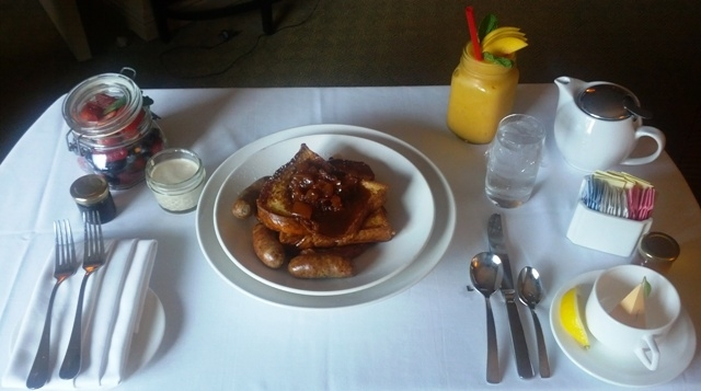 Room service for breakfast at the Omni Chicago Hotel