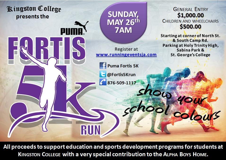 Kingstin Jamaica Puma fortis 5k Run flyer